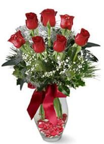 Muş internetten çiçek siparişi  7 adet kirmizi gül cam vazo yada mika vazoda