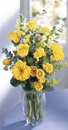 Muş online çiçek gönderme sipariş  sari güller ve gerbera cam yada mika vazo
