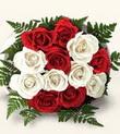 Muş çiçek , çiçekçi , çiçekçilik  10 adet kirmizi beyaz güller - anneler günü için ideal seçimdir -