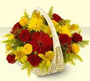 Muş 14 şubat sevgililer günü çiçek  sepette mevsim çiçekleri