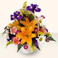 Muş 14 şubat sevgililer günü çiçek  sepet içinde karisik çiçekler