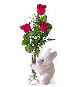 oyuncak ve 3 adet gül  Muş çiçek siparişi sitesi