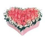 kalp içerisinde 9 adet pembe gül  Muş çiçek satışı