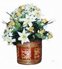 yapay karisik çiçek sepeti   Muş cicekciler , cicek siparisi