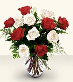 Muş uluslararası çiçek gönderme  6 adet kirmizi 6 adet beyaz gül cam içerisinde