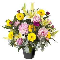 karisik mevsim çiçeklerinden vazo tanzimi  Muş uluslararası çiçek gönderme