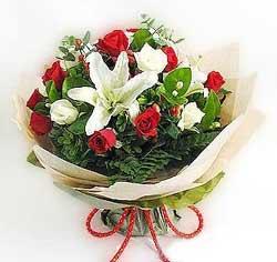 güller ve kazablanklardan görsel bir buket  Muş internetten çiçek satışı