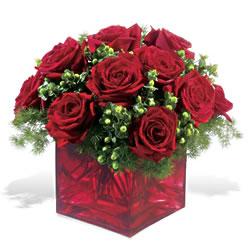 Muş çiçek yolla  9 adet kirmizi gül cam yada mika vazoda