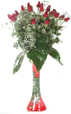 Muş uluslararası çiçek gönderme  19 ADET GÜL VE FIL CAM AYAGI