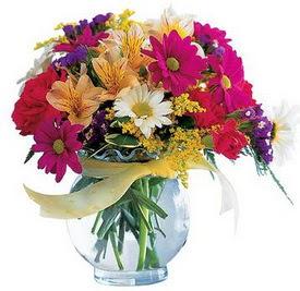 Muş internetten çiçek satışı  cam yada mika içerisinde karisik mevsim çiçekleri
