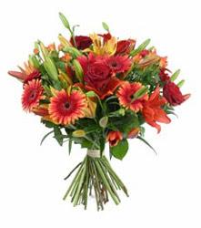 Muş çiçek gönderme  3 adet kirmizi gül ve karisik kir çiçekleri demeti