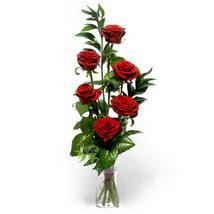 Muş çiçek siparişi sitesi  cam yada mika vazo içerisinde 6 adet kirmizi gül
