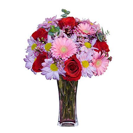 Görsel hediye karisik cam mevsim demeti  Muş çiçekçi mağazası