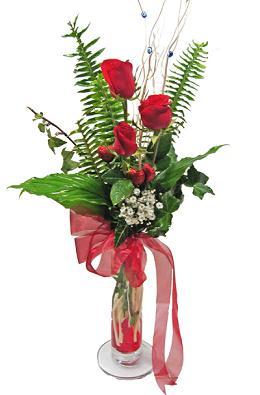 Çiçek gönderin cam vazoda 3 gül çiçekleri  Muş çiçek siparişi sitesi