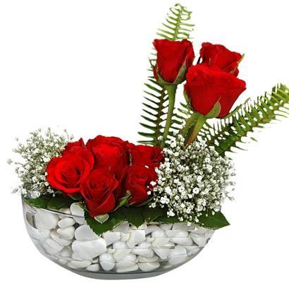 cam içerisinde 9 adet kirmizi gül  Muş çiçek siparişi vermek