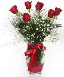 7 adet gülden cam içerisinde güller  Muş 14 şubat sevgililer günü çiçek