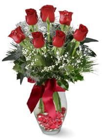7 adet vazoda gül  Muş internetten çiçek satışı  kirmizi gül