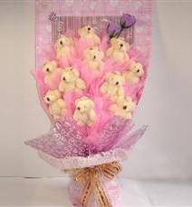 11 adet pelus ayicik buketi  Muş çiçek yolla