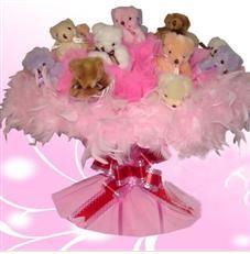 11 adet pelus ayicik buketi  Muş çiçek satışı