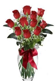 11 adet kirmizi gül vazo mika vazo içinde  Muş 14 şubat sevgililer günü çiçek