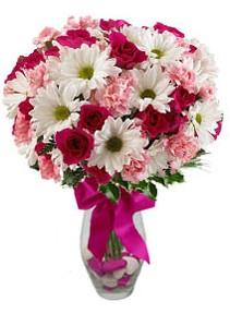 Muş çiçek siparişi sitesi  Karisik mevsim kir çiçegi vazosu