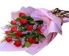 11 adet kirmizi güllerden görsel buket  Muş çiçek gönderme sitemiz güvenlidir