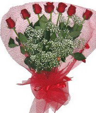 7 adet kipkirmizi gülden görsel buket  Muş çiçek mağazası , çiçekçi adresleri