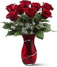 Vazo içinde 8 adet kirmizilar içinde güller  Muş internetten çiçek siparişi