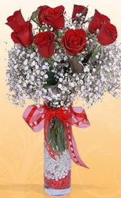 9 adet kirmizi gül cam yada mika vazoda  Muş çiçek mağazası , çiçekçi adresleri