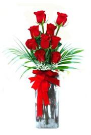 Muş çiçekçi telefonları  9 adet mika yada cam vazoda gül tanzimi