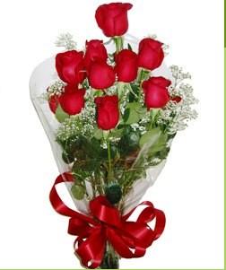 Muş uluslararası çiçek gönderme  10 adet kırmızı gülden görsel buket