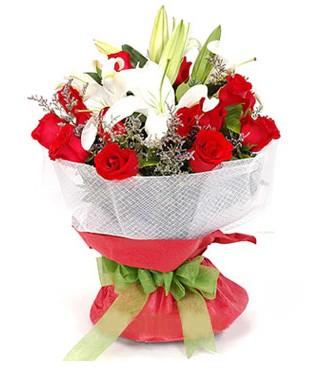 Muş hediye çiçek yolla  1 dal kazablanka 11 adet kırmızı gül buketi