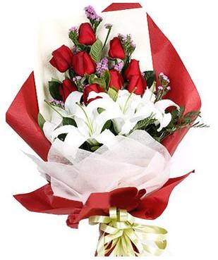 Muş çiçekçiler  1 dal kazablankaa 9 adet kırmızı gül buketi