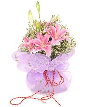 3 dal kazablanka görsel buketi  Muş internetten çiçek satışı