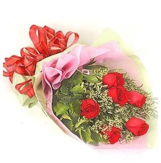 Muş çiçek , çiçekçi , çiçekçilik  6 adet kırmızı gülden buket