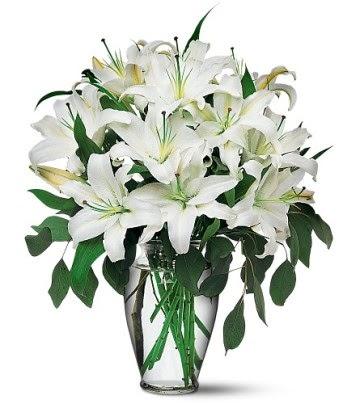 Muş internetten çiçek satışı  4 dal kazablanka ile görsel vazo tanzimi