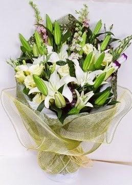 Muş çiçek servisi , çiçekçi adresleri  3 adet kazablankalardan görsel buket çiçeği