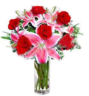 Muş çiçek yolla  1 dal cazablanca ve 6 kırmızı gül çiçeği