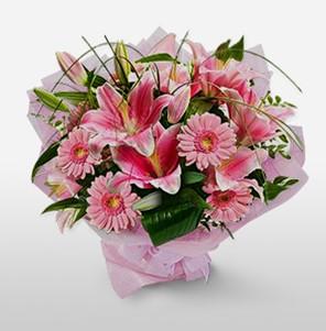 1 dal kazablanka ve kır çiçek görsel buketi  Muş internetten çiçek satışı