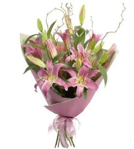 Muş İnternetten çiçek siparişi  3 dal cazablanca buket çiçeği