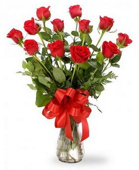 Muş çiçek , çiçekçi , çiçekçilik  12 adet kırmızı güllerden vazo tanzimi