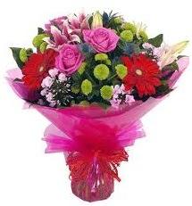 Karışık mevsim çiçekleri demeti  Muş online çiçek gönderme sipariş