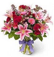 Vazo içerisinde karışık mevsim çiçeği  Muş çiçek siparişi sitesi