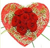 Mika kalp içerisinde 7 adet kırmızı gül  Muş çiçekçi mağazası