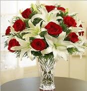 12 adet kırmızı gül 2 dal kazablanka vazosu  Muş çiçek satışı