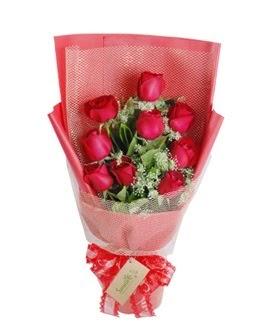 9 adet kırmızı gülden görsel buket  Muş ucuz çiçek gönder