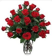 Muş çiçek siparişi sitesi  24 adet kırmızı gülden vazo tanzimi