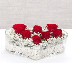 kalp içerisinde 7 adet kırmızı gül  Muş çiçek siparişi vermek