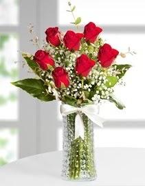 Cam vazoda 7 adet kırmızı gül  Muş çiçek , çiçekçi , çiçekçilik