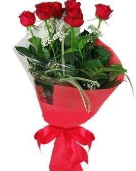 5 adet kırmızı gülden buket  Muş kaliteli taze ve ucuz çiçekler